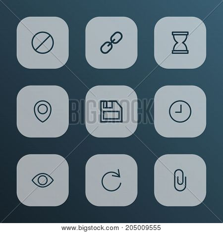Interface Outline Icons Set. Collection Of Ban, Location, Show And Other Elements