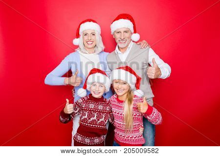 We Like Holy Magic X Mas Time! Four Relatives Bonding Isolated On The Red Background, Excited Siblin