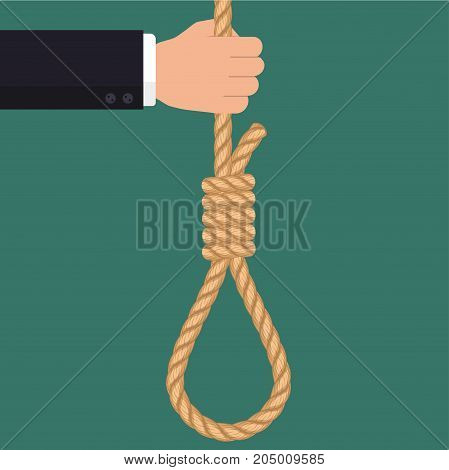Hand with rope hanging loop. Suicide and business. Tightens noose, businessman hopelessness, node for hanging. Vector