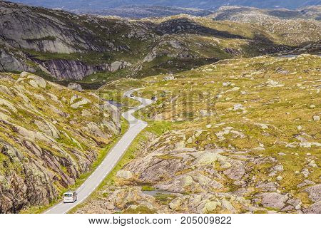 Beautiful View On Summer Road. Forsand, Rogaland, Norway