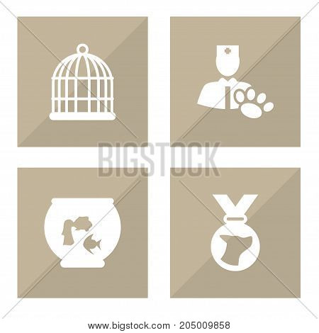 Collection Of Medallion, Birdcage, Veterinarian And Other Elements.  Set Of 4 Animals Icons Set.