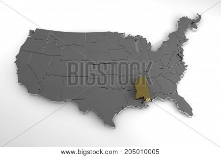 United States of America, 3d metallic map, with Mississippi state highlighted. 3d render