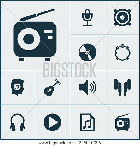 Audio Icons Set. Collection Of File, Earmuff, Timbrel And Other Elements