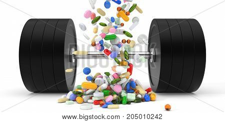 building supplements and dumbell. 3d illustration. isolated on white.