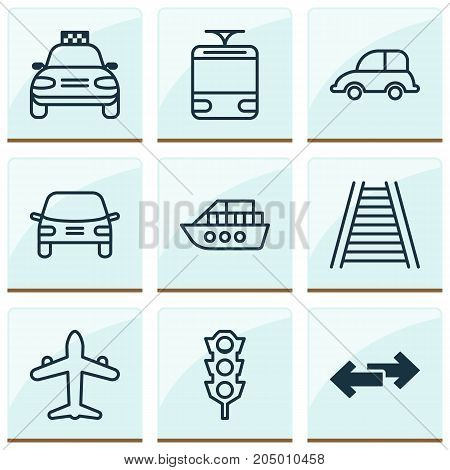 Delivery Icons Set. Collection Of Automobile, Car Vehicle, Boat And Other Elements