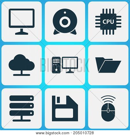 Digital Icons Set. Collection Of Tree, Dossier, Desktop And Other Elements