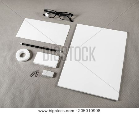 Blank stationery set on paper background. Corporate identity template. ID mockup. Mock up for branding identity.