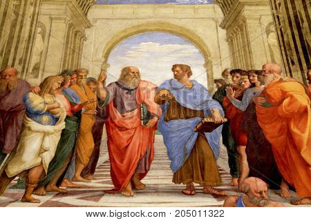 ROME, ITALY - JULY 15, 2017: The School of Athens Raphael room's in Museums of Vatican, Rome, Italy. The fresco of the 16th century in one of the rooms of Raphael (Stanze di Raffaello) in the Vatican Museum.