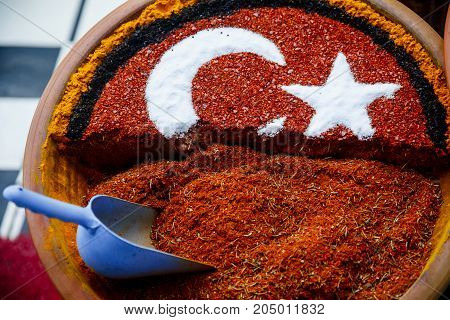 Grand Spice Bazaar, turkish spices for sale shops in Istanbul. Turkey flag poster