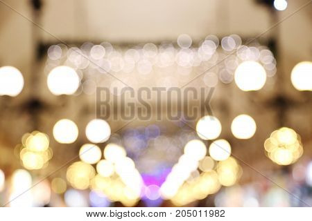 Background of colorful bokeh lights, close up
