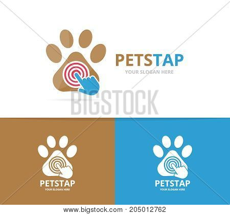 Vector paw and click logo combination. Pet and cursor symbol or icon. Unique vet and digital logotype design template.