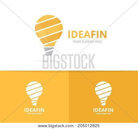 Vector lamp logo combination. Lightbulb symbol or icon. Unique idea logotype design template.