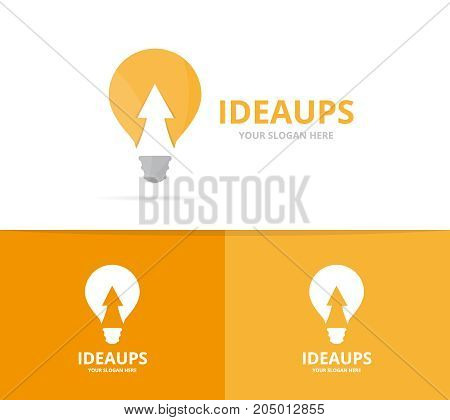 Vector lamp and arrow up logo combination. Lightbulb and growth symbol or icon. Unique idea and upload logotype design template.