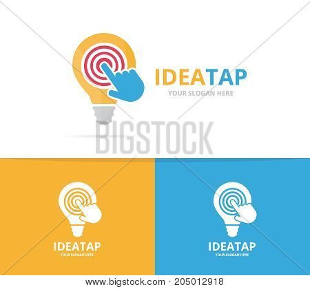 Vector lamp and click logo combination. Lightbulb and cursor symbol or icon. Unique idea and digital logotype design template.