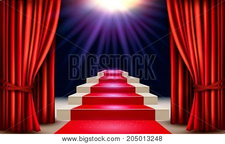 Showroom with red carpet leading to a podium with curtains. Vector