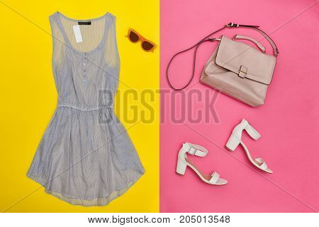 Blue Dress, Pink Handbag, White Shoes And Rose-colored Glasses. Bright Pink And Yellow Background, C