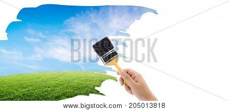 A paintbrush is painting a nature on a white isolated background environment concept.