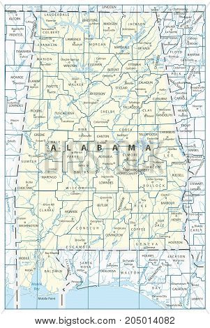 Alabama State Map Vector & Photo (Free Trial) | Bigstock