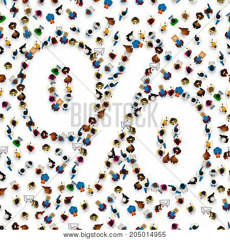 A crowd of people in the form of a percent sign symbol on a white background. Vector illustration