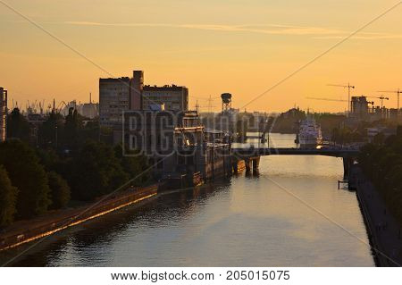 Evening Kaliningrad. View to Pregola river and bridge.