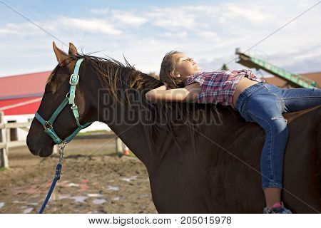 in a beautiful Autumn season of a young girl and horse in a field