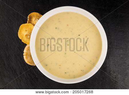 Rustic Slate Slab With Chanterelle Soup, Selective Focus