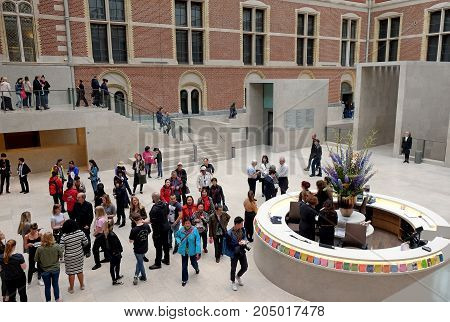AMSTERDAM NETHERLANDS - MAY 15 2017: Entrance to the Rijksmuseum tourists information desk