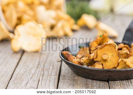 Portion Of Fried Chanterelles, Selective Focus