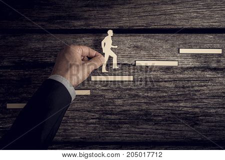 Retro Style Image Of A Successful Businessman Climbing The Corporate Ladder