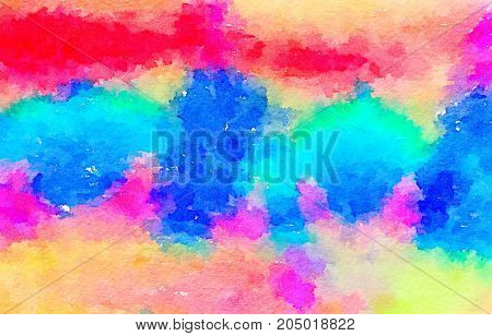 Digital watercolor painting of silk fabric dyed with multi color procean dye paints. Colors include red pink blue turquoise green and yellow. Space for text. Can be used as a background for Valentines Day Mothers Day or Easter.