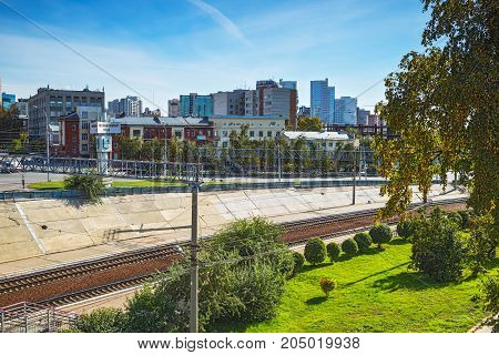 The city of Novosibirsk Siberia Russia - September 17 2017: railway area of Novosibirsk station