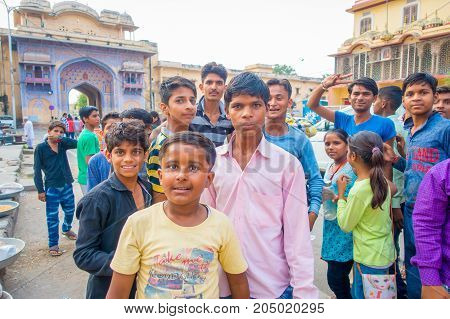 Jaipur, India - September 20, 2017: Close up of children playing in the street in Jaipur city in India.