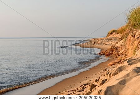 Lake Michigan coastline with water and sand dune