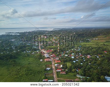 Cityscape of Bluefields town aerial above view