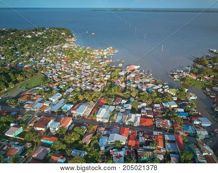 Port in Bluefields Nicaragua aerial drone view