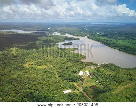 River in central america aerial drone view
