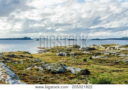 picture of the Sunlit Norway landscape at fall time