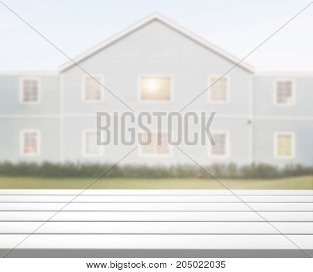 Table Top And Blur Exterior Of Background