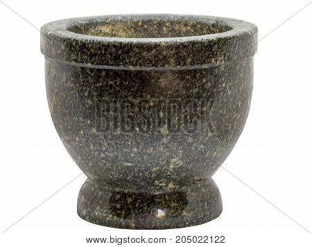 Closeup Stone Mortar isolated on white background.