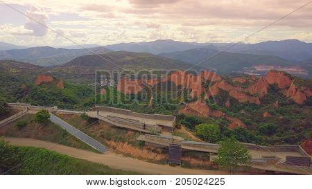 The Las Medulas gold mining site in Spain