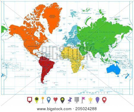 World map colorful vector photo free trial bigstock world map with colorful continents and flat map pointers isolated on white highly detailed map illustration with countries cities and navigation symbols gumiabroncs Image collections