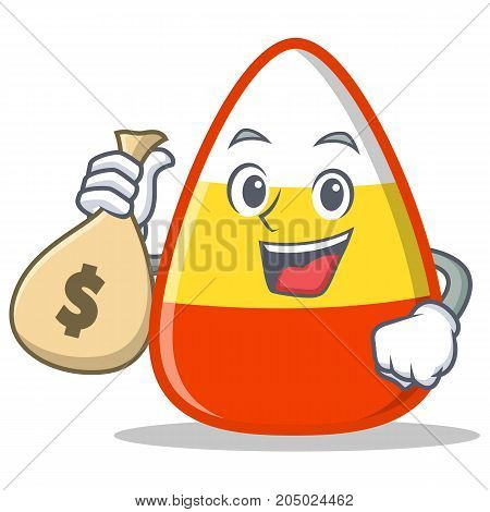 With money bag candy corn character cartoon vector illustration