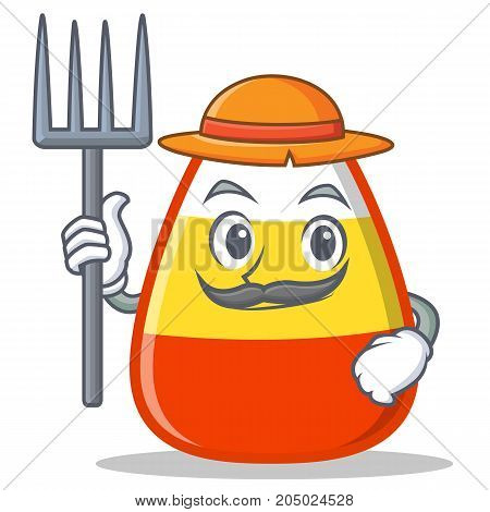 Farmer candy corn character cartoon vector illustration