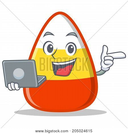 With laptop candy corn character cartoon vector illustration