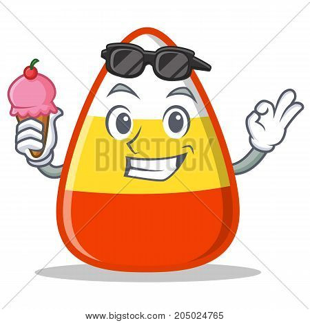With ice cream candy corn character cartoon vector illustration