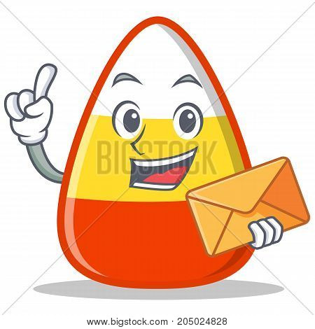 With envelope candy corn character cartoon vector illustration