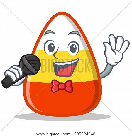 Singing candy corn character cartoon vector illustration