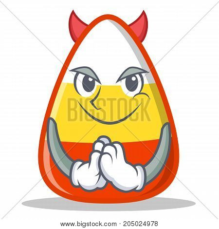 Devil candy corn character cartoon vector illustration