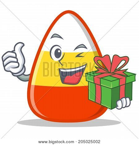 With gift candy corn character cartoon vector illustration