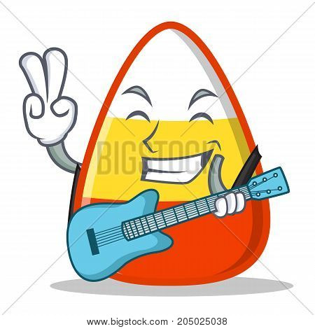 With guitar candy corn character cartoon vector illustration